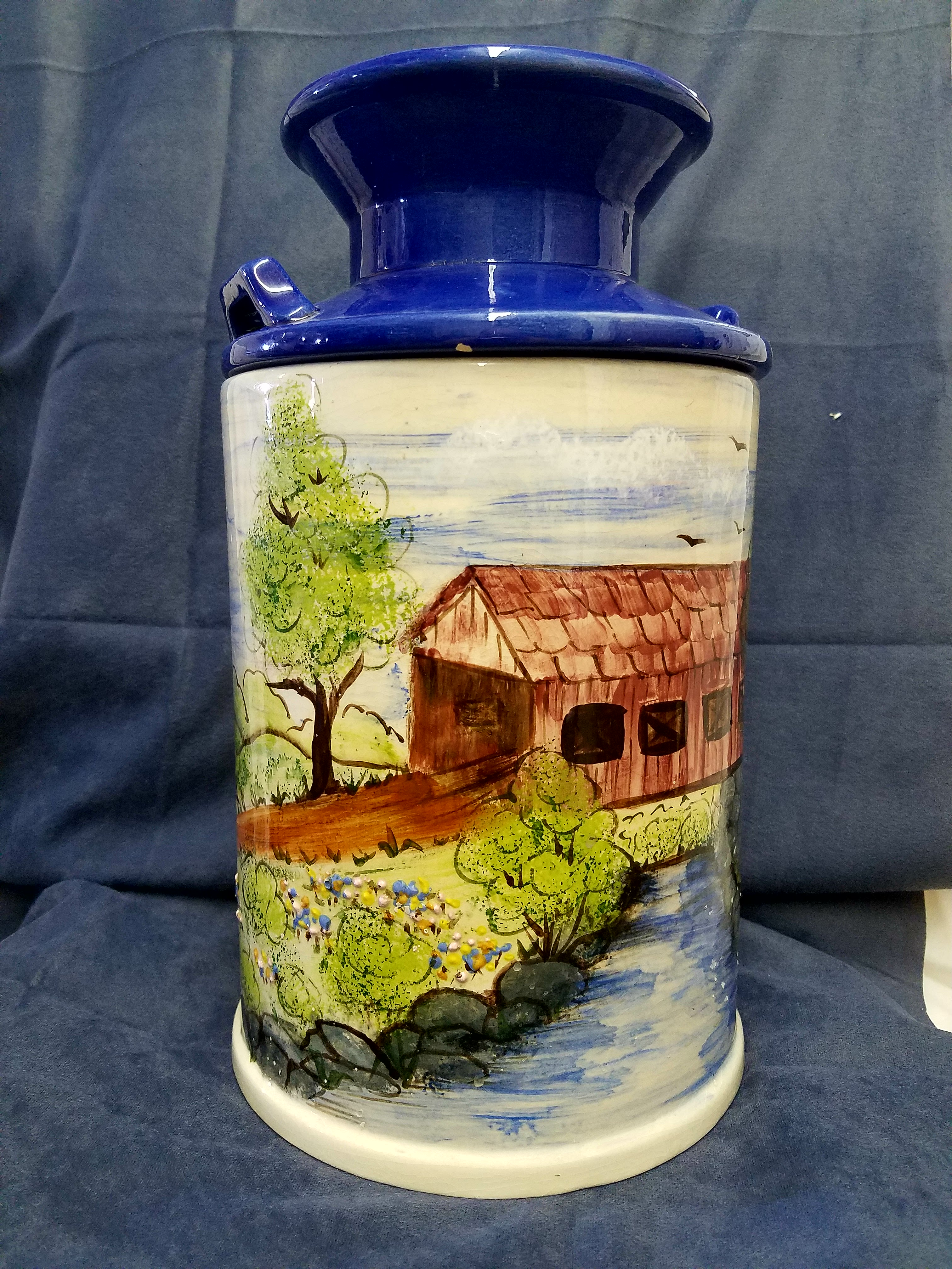 Ceramic Milk Jug Hand painted by Mary Baker.